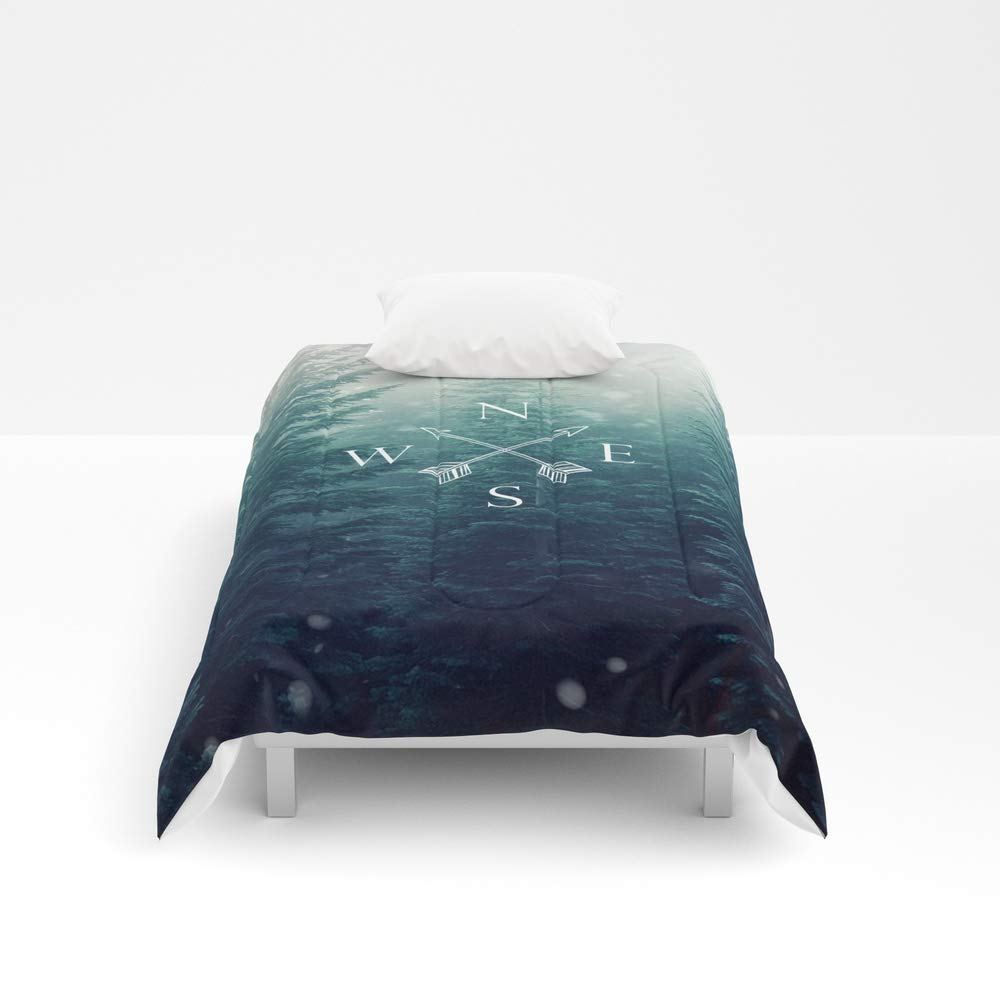 Society6 Comforter, Size Twin: 68'' x 88'', Arrow Compass in The Winter Woods by 4thave