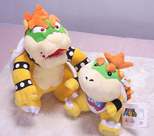 [Super Mario Bros King Bowser Koopa Jr. Koopa Soft Toy Plush Animal Doll Set of 2] (Dry Bowser Costume)