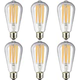 Sunlite - S19 LED Vintage Edison Bulb in Warm White, 6 Watts (45 Watt Equivalent), Dimmable, Medium Base, 15,000 Hours Lamp Life, 600 Lumens, Energy Efficient, Safety Rated, Indoor Use - 6 Pack