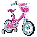 Tauki Girl's Bike with Training Wheels and Basket, Gift for Girls, 12-16 inch, White/Pink