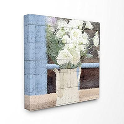 Stupell Industries Painted Watercan and White Flowers on Planked Wood Canvas Wall Art, 30 x 30, Multi-Color