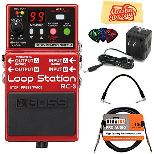 Boss RC-3 Loop Station Bundle with Power Supply, Instrument Cable, Patch Cable, Picks, and Austin Bazaar Polishing Cloth by BOSS