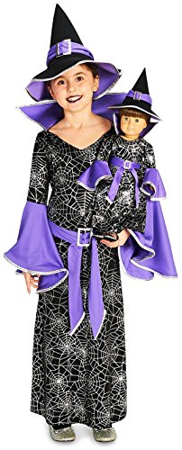 Witch Cloth Doll - Dreamweavers Stencils - Spider Web Silver Printed Witch Costume M (8-10) with Matching 18 Doll Costume - Standard