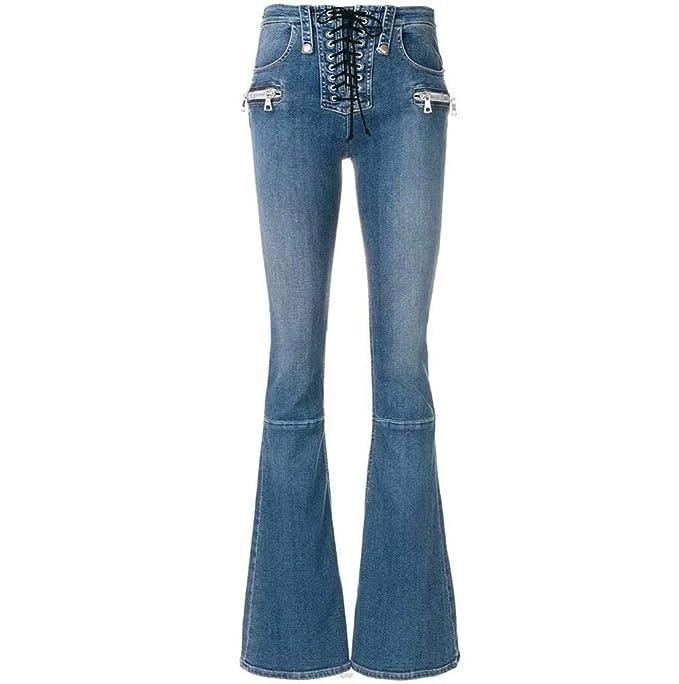 Pantalones Vaqueros De Las Mujeres Cintura Alta De Metal ...