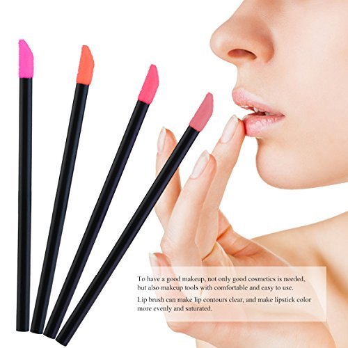 NUOLUX 150pcs Makeup Lip Brush Lipstick Glossy Wands Applicator Tool Disposable(Black)