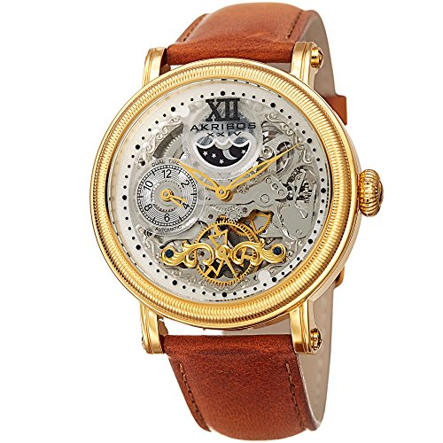 Akribos XXIV Men's Quartz Stainless Steel and Leather Casual Watch, Color:Brown (Model: AK968YGTN)