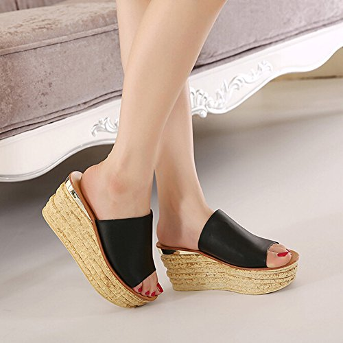 Peep Angelliu Wedges Women Platform Slippers New Black Thick Summer Toe Leather YFrYRwq