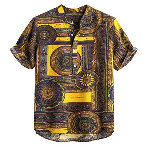 (Londony ♪ Men's White T-Shirt Hippie Shirt V-Neck Beach Yoga Top Hawaiian Shirts Boho Printed Beach Party Holiday)