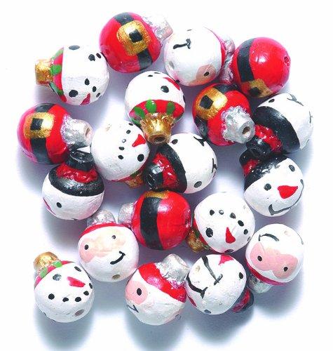 Hand Painted Ceramic Snowman - Peruvian 10mm Peruvian Hand Crafted Ceramic Snowman/Santa Ornament Mix Beads , 10 per Pack