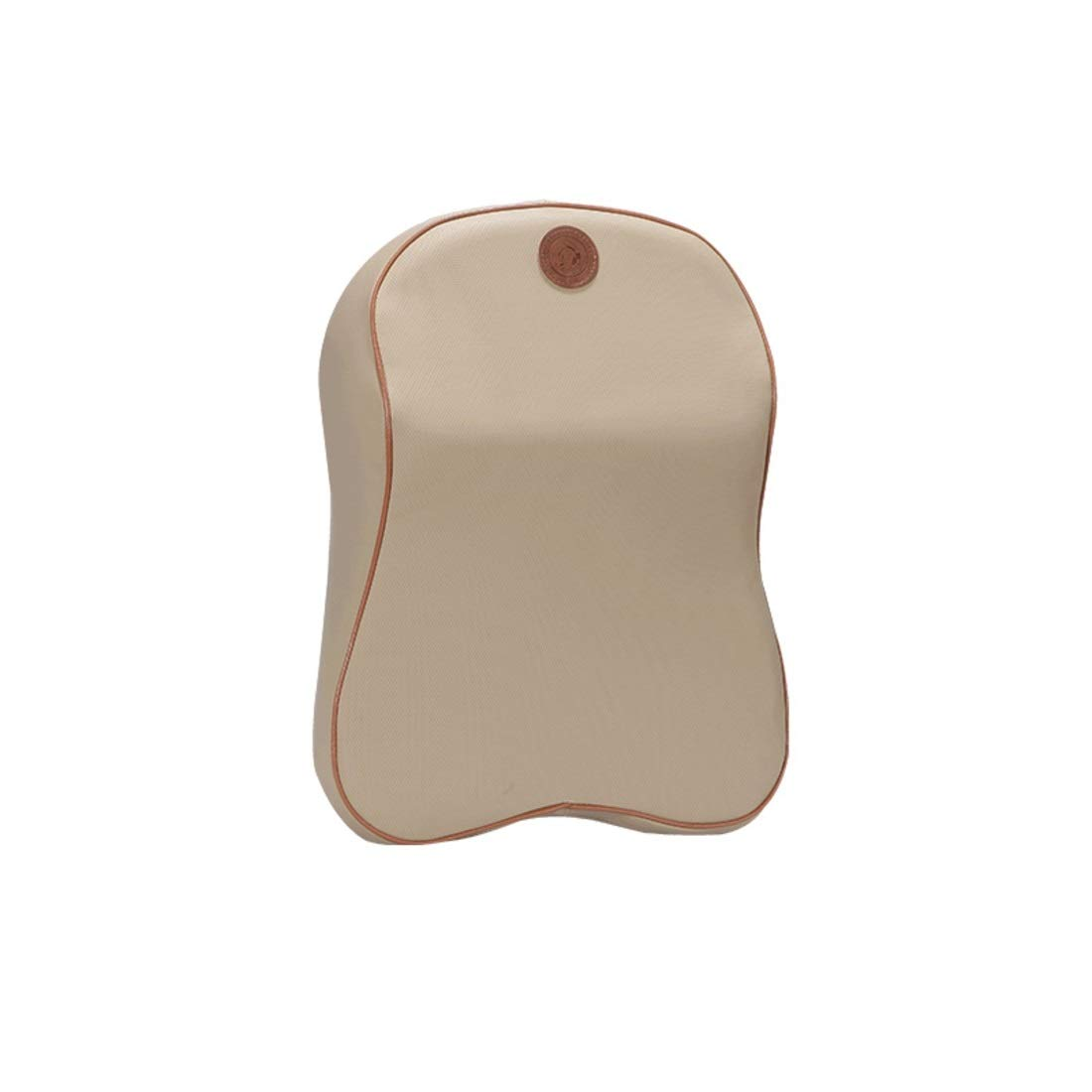 BAOYIT Leather Material Car Pillow Lumbar Memory Cotton Headrest Car Neck Pillow (Color : Beige) by BAOYIT