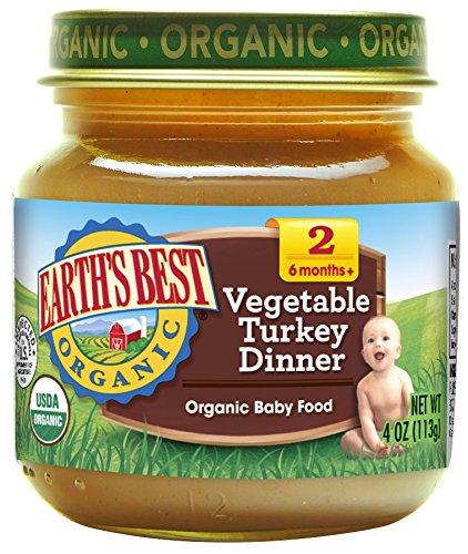 Earth's Best Organic Stage 2 Baby Food, Vegetable Turkey Dinner, 4 Ounce Jars, Pack of 12