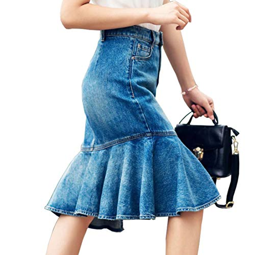 June Women's Denim Ruffle Fishtail Skirt, Knee-Length Jeans Skirt (US 2-4)