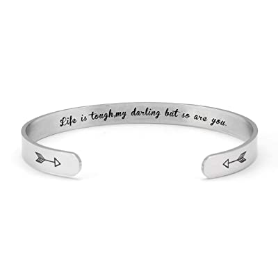 Binory Inspirational Cuff Bracelet Titanium Steel Bangle Stainless Steel Engraved Mantra Bangle for Women Mom and Girls Daughter Personalized Birthday Jewelry Gift (C): Toys & Games