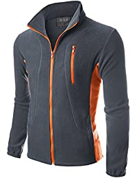 Mens Zipper Colorblock Lightweight Fleece Jacket