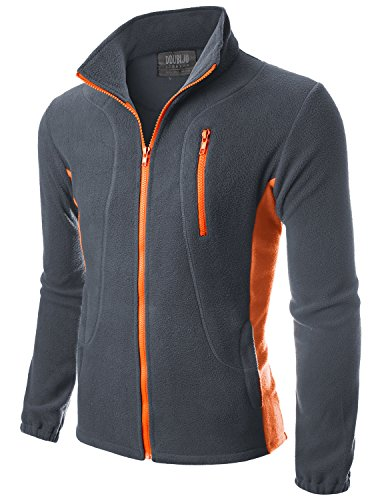 Doublju Mens Color Contrast Long Sleeve Full-Zip Lightweight Fleece Jacket CHARCOALORANGE,M