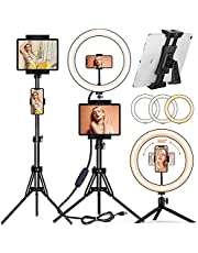 """[2021 Newest Version] PEYOU 12"""" Selfie Ring Light with 60"""" Tripod Stand & Tablet Phone Holders, Multifunctional LED Ring Light Tripod Stand for Makeup/Photography/Live Stream/Video Recording"""