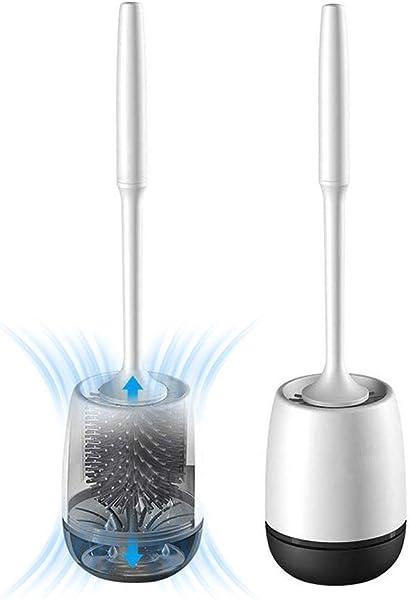 White Toilet Brush and Holder Set, Silicone Bathroom Toilet Bowl Brush Set, No Scratch Soft Toilet Cleaner Brush