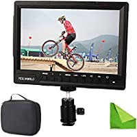 Feelworld FW760 FW-760 4K HDMI Output 7 Video Monitor IPS Full HD 1920x1200 HDMI 1080p with Sunshade and MINI HDMI, Macro HDMI for BMPCC Dslr Camera Canon Sony with EACHSHOT Cleaning Cloth