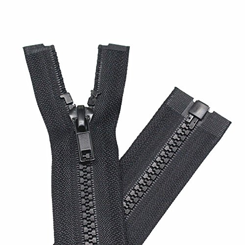 YaHoGa 2PCS #5 26 Inch Separating Jacket Zippers for Sewing Coats Jacket Zipper Black Molded Plastic Zippers Bulk (26