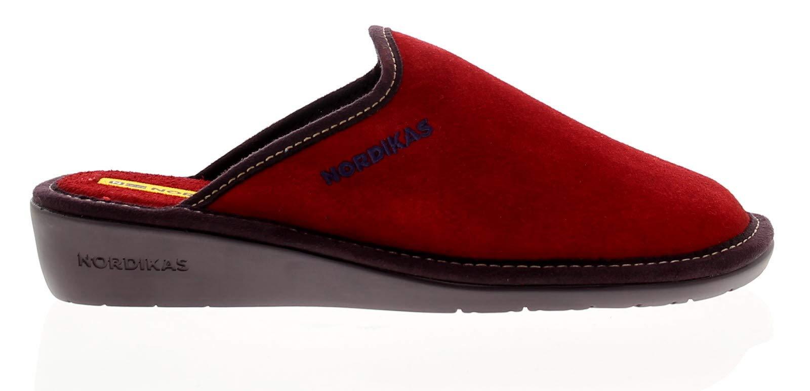 Femmes Rouge Textile Tailles Nordikas Chausson En Uk 8 Cuir Doublure Avec 3 7HwpA