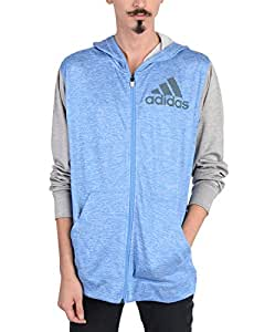 adidas Performance Men's Team Issue Full-Zip Hoodie, Small, Lucky Blue S15/Colored Heather/Medium Grey Heather