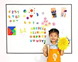 Bieco 48'' x 36'' Frameless Dry Erase Whiteboard Set Wall Sticker Sheets with Iron Base for Kids Easel Drawing and Learning, Includes Washable Crayons and Magnetic Letters Blocks Numbers and Tangram