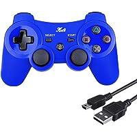 Kabi Manette Ps3 Dualshock 3 sansavec Fil Double Vibration 6 Axes(Sixaxis)pour Playstation 3 Bonus Câble de Charge Libre, Wireless Controller pour PS3 Manette (Bleu)