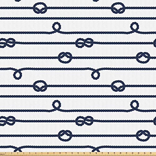 Ambesonne Navy Fabric by The Yard, Ship Boat Sea Life Rope and Marine Nautical Knots as Border Lines Art Print, Microfiber Fabric for Arts and Crafts Textiles & Decor, 10 Yards, Navy Blue and White