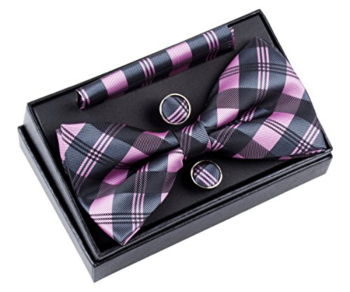 Retreez Tartan Check Patterns Woven Microfiber Pre-tied Bow Tie (Width: 5