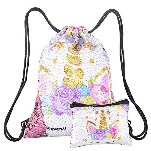 - Xiaowli Unicorn Gifts Magic Reversible Sequin Drawstring Backpack with Unicorn Pouch Sets Mermaid School Dance Bags for Girls (B Light Pink)