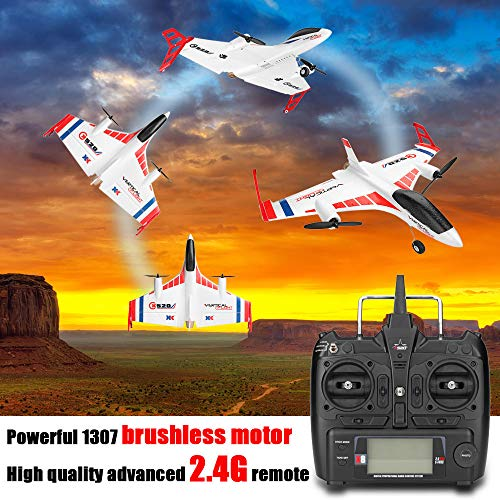 (Remote Control Glider, salaheiyodd【Ship from USA】XK X520 2.4G 6CH 3D/6G EPP Vertical Takeoff Land Delta Wing Remote Control Airplane, 16.54×20.5×4.92IN)