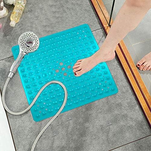 antibatterico resistente alla muffa Tappetino per il bagno in PVC Pauwer tappetino da vasca doccia antiscivolo con ventose Grigio trasparente 53x53cm