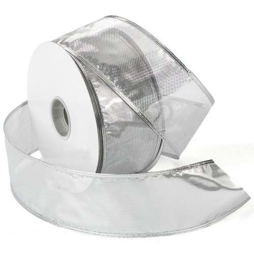 Metallic Wired Ribbon (Morex Ribbon Gleam Wired Metallic Sheer Ribbon, 2-1/2-Inch by 50-Yard Spool, Silver)