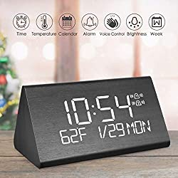 LEPOWERP Wooden Digital Alarm Clock, 2019 Updated Voice Command Electric LED Bedside Travel Triangle Alarm Clock, Display Time Date Week Temperature for Office & Home