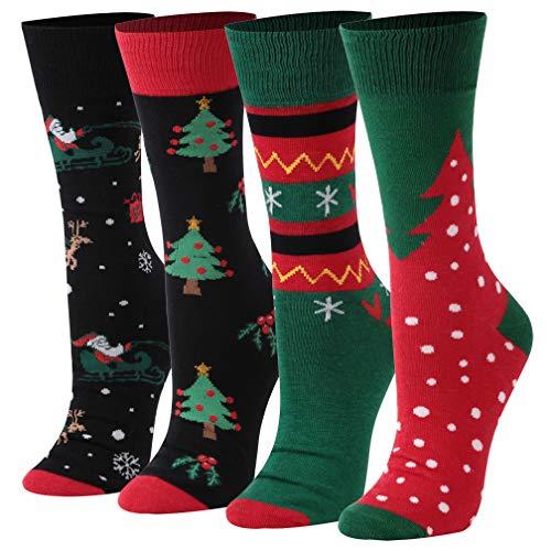 Christmas Socks Women, saounisi Holiday Printed Design Funny Novelty Crew Socks Cartoon Elk 4 Pairs
