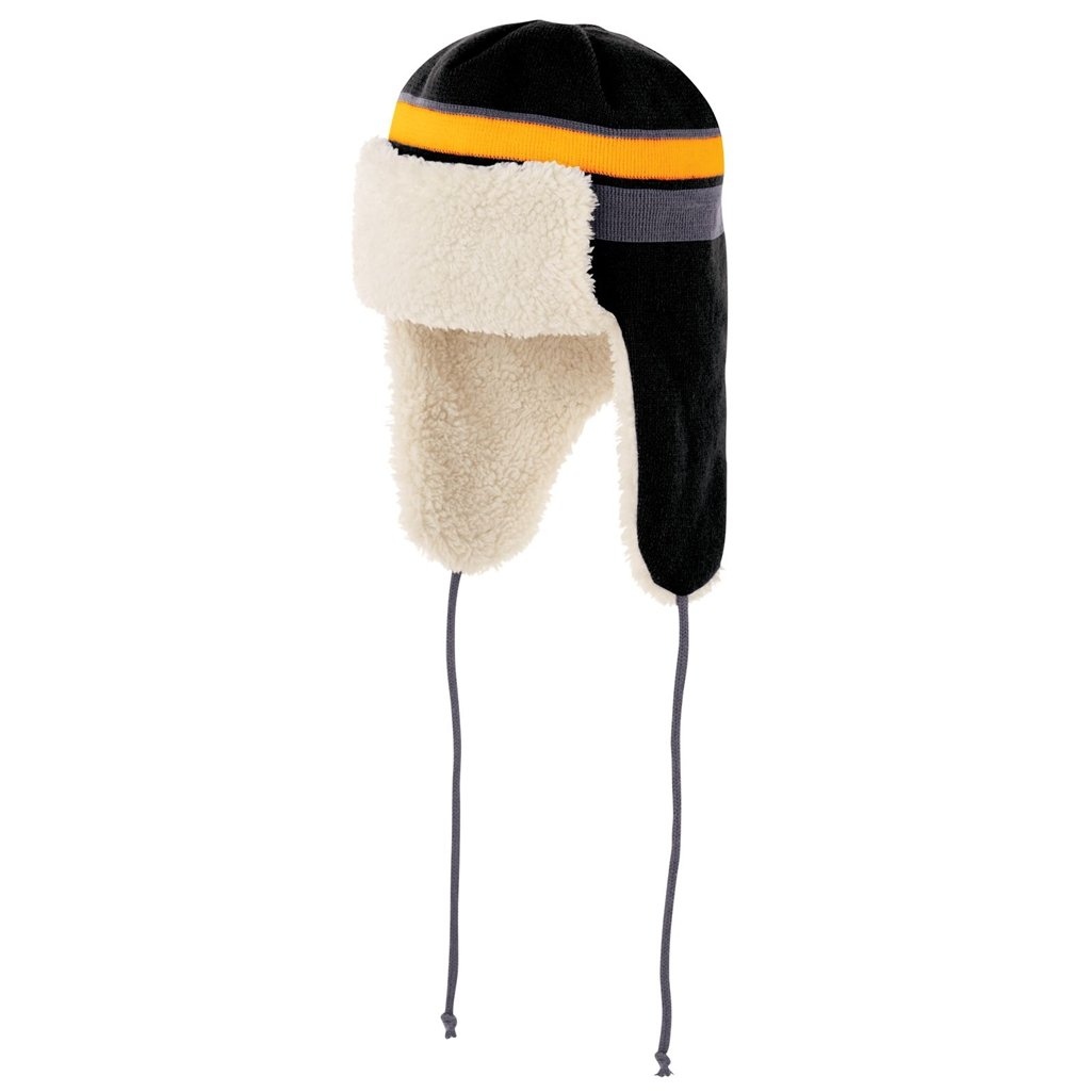 Holloway Comeback Trapper Beanie (One Size Fits Most, Black/Light Gold/Graphite) by Holloway