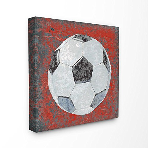 The Kids Room by Stupell Grunge Sports Equipment Soccer Stretched Canvas Wall Art, 17 x 1.5 x 17, Proudly Made in USA by The Kids Room by Stupell