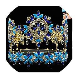 Full Round Crown With Blue Crystal Rhinestones