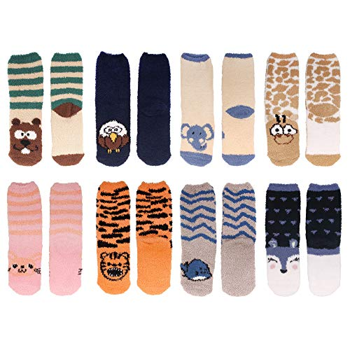 Beaver Fuzzy (Women's Super Soft Warm Microfiber Fuzzy Cozy Animal Crew Socks, Asst 8d, 8 Pairs)