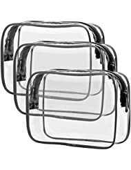TSA Approved Toiletry Bag, Packism Clear Makeup Bag Waterproof Quart Size Bag, Travel Makeup Cosmetic Bag for Women Men, Carry on Airport Airline Compliant Bag, 3 Pack, Black