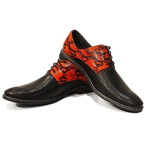 PeppeShoes Modello Devillo - Cuero Italiano Hecho A Mano Hombre Piel Rojo Zapatos Vestir Oxfords - Cuero Cuero Repujado - Encaje
