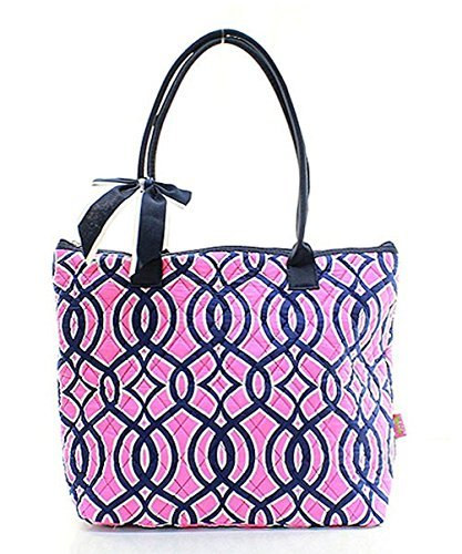 Ngil Quilted Cotton Owl Medium Tote Bag (Vine Navy Pink)
