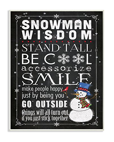Stupell Home Décor Snowman Wisdom Typography Wall Plaque Art, 10 x 0.5 x 15, Proudly Made in USA (Snowman Ornament Collection)