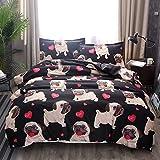 ZHH Pug Puppy Duvet Cover Sets Kids' Bedding Set Ultra Soft Hypoallergenic Microfiber Cute Animal Dog Pattern Boys Children's Quilt Cover Bedding Set, 1 Duvet Cover + 2 Pillowcases(Queen Size)