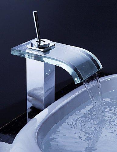 Zeitgenössische WasserfaÖl Waschbecken Wasserhahn mit Glas Auslauf und Ablaufgarnitur