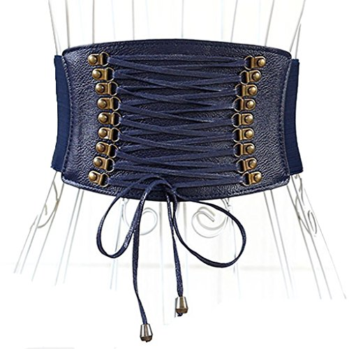 Charming House Womens Vintage Tassels Elastic Wide Waist Belt (Navy) by Charming House (Image #1)