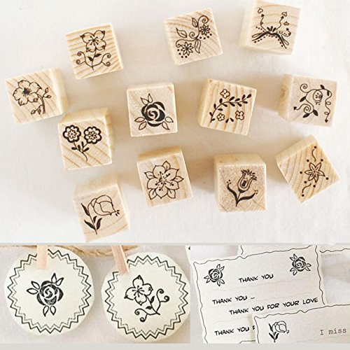 Shopline 12 Pieces Vintage Stamps, Wooden Rubber Stamps with Flower Lace for Letters Diary Craft Scrapbooking (Avon Book Current)