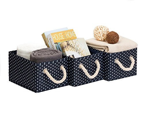 StorageWorks 3 gal Polyester Storage Bin with Strong Cotton Rope Handle, Foldable Storage Basket, Deep Blue, White Dot Style, Medium, 3-Pack ()