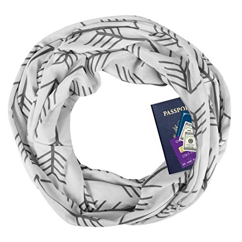 Zipper Pocketed Travel Scarf,Infinity Scarf with Pocket (White(Arrow - Scarf Pocket Pattern