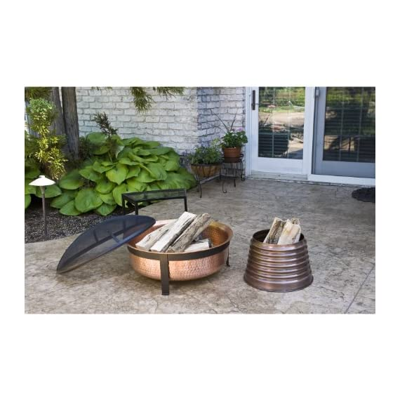 CobraCo SH101 Hand Hammered 100% Copper Fire Pit with Screen and Cover - Make sure this fits                by entering your model number. Extra deep tub for larger and longer lasting fire Sturdy metal construction, contemporary stand design - patio, outdoor-decor, fire-pits-outdoor-fireplaces - 51UnWLVQBjL. SS570  -